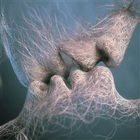 Abstract Lover Couple Kiss Art iPad Air wallpaper