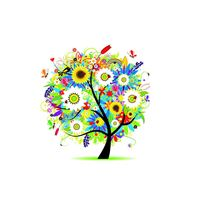 Colorful Flowers Tree Design Art iPad wallpaper