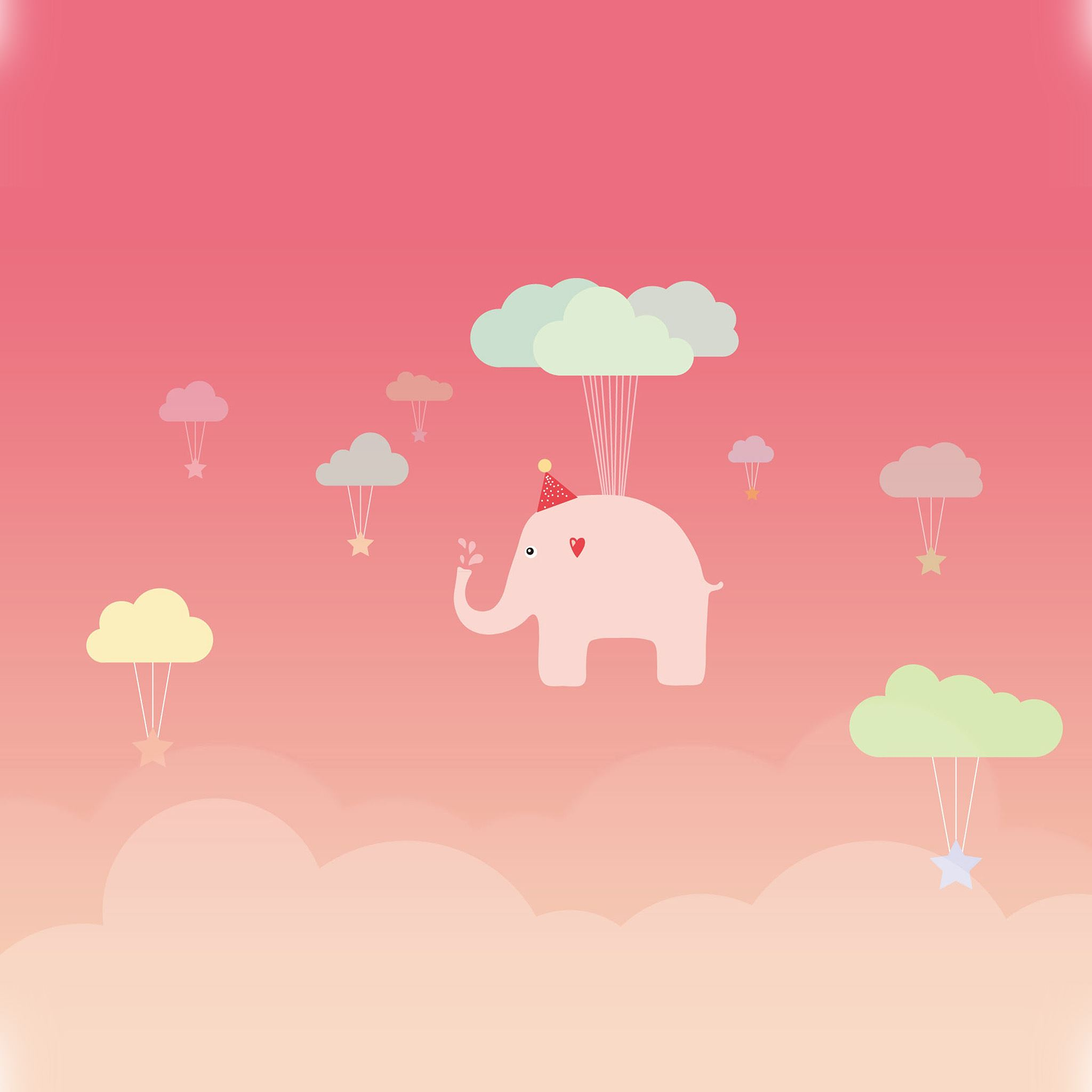 Cute Elephant Illustration Art Pink Fly iPad Air wallpaper