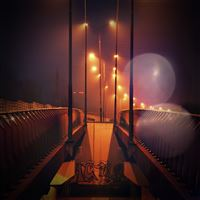 Night Bridge City View Lights Street Orange Flare iPad Air wallpaper