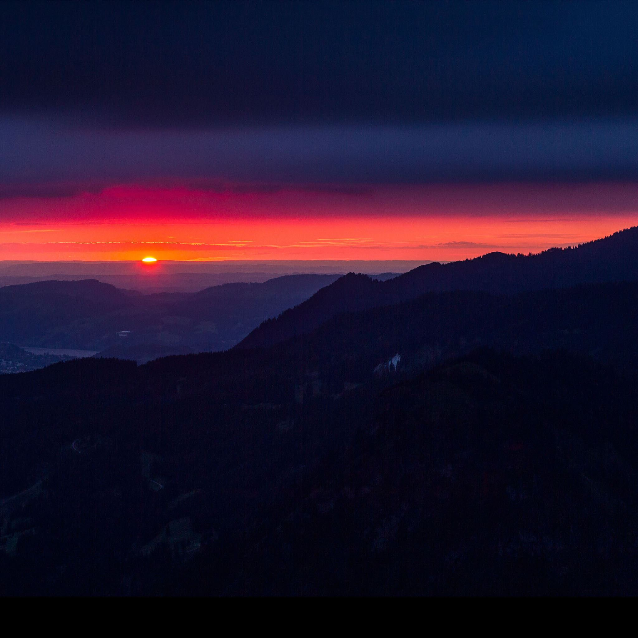 Dark Night Sunset Mountain Sky View Landscape Ipad Air Wallpapers