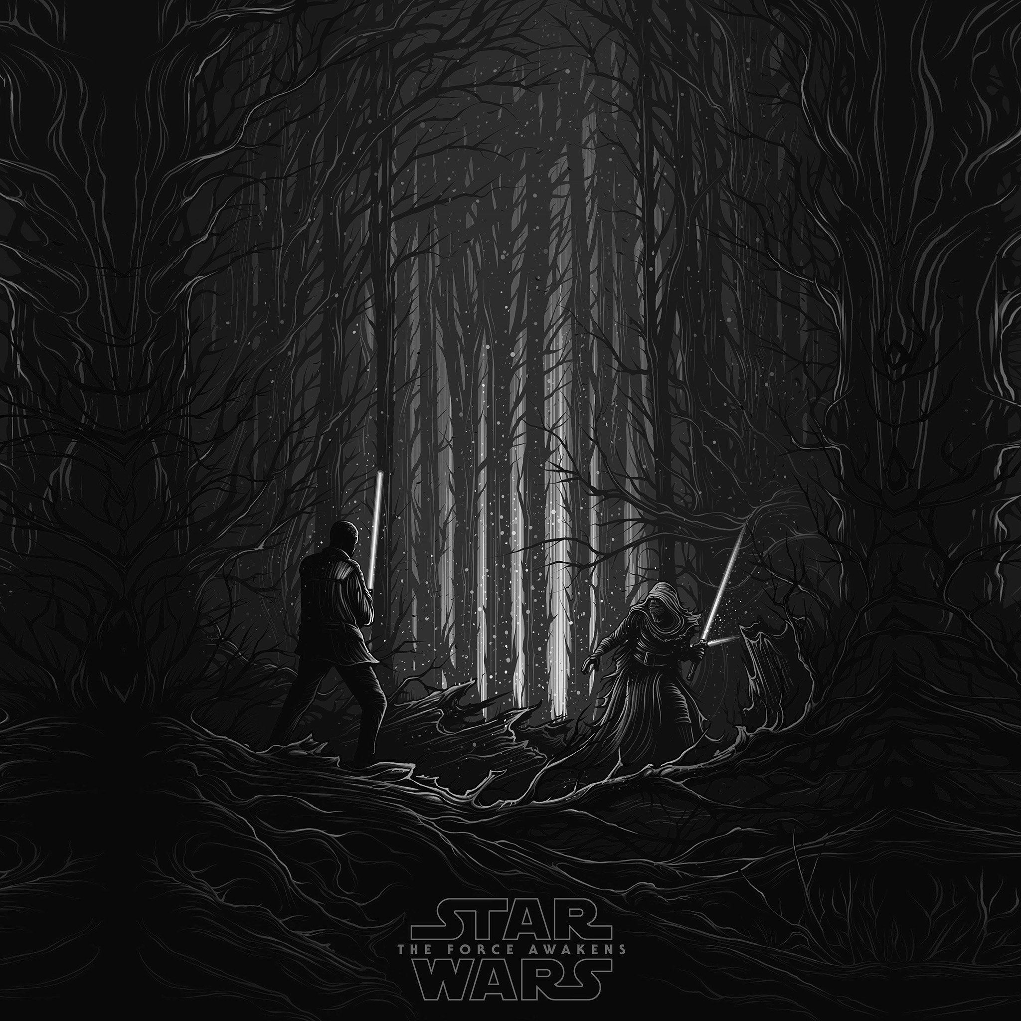 Starwars Illustration Bw Dark Art Film iPad Air wallpaper