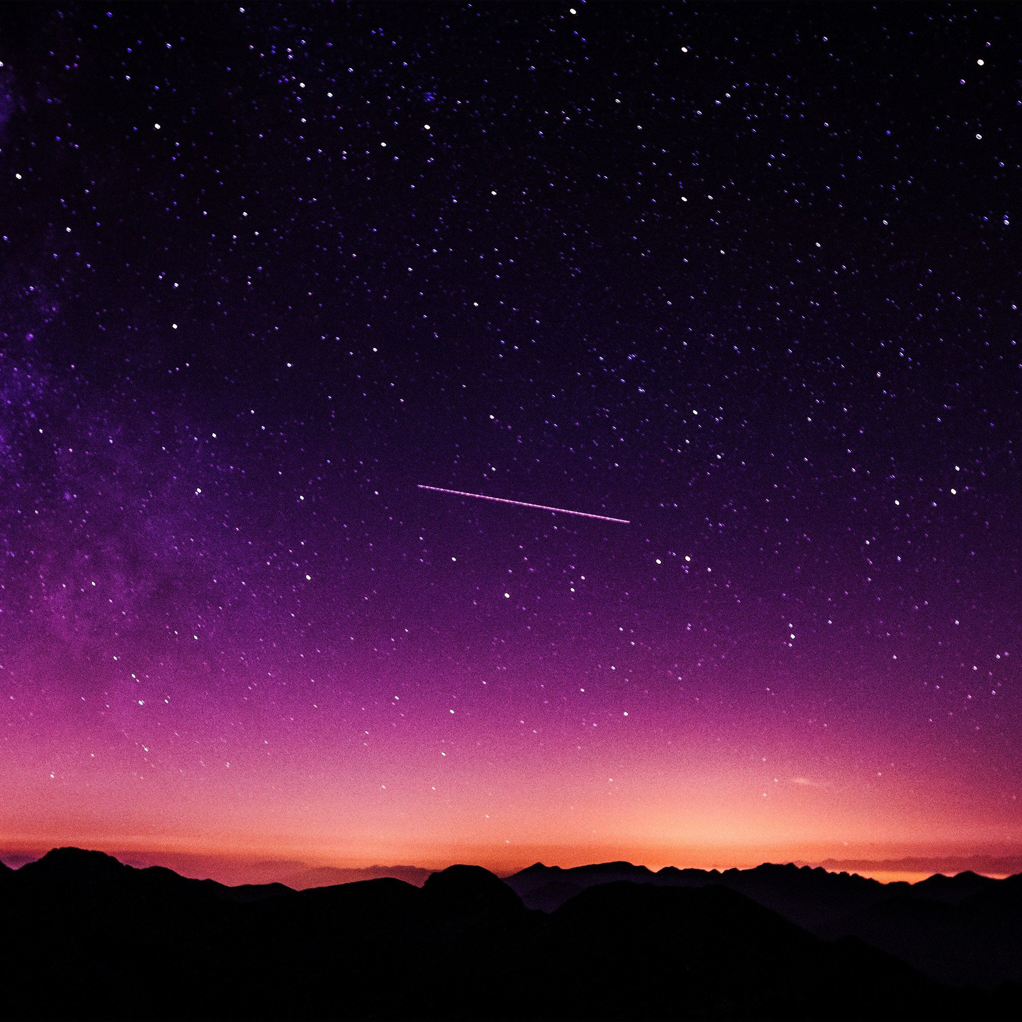 Star Galaxy Night Sky Mountain Purple Red Nature Space