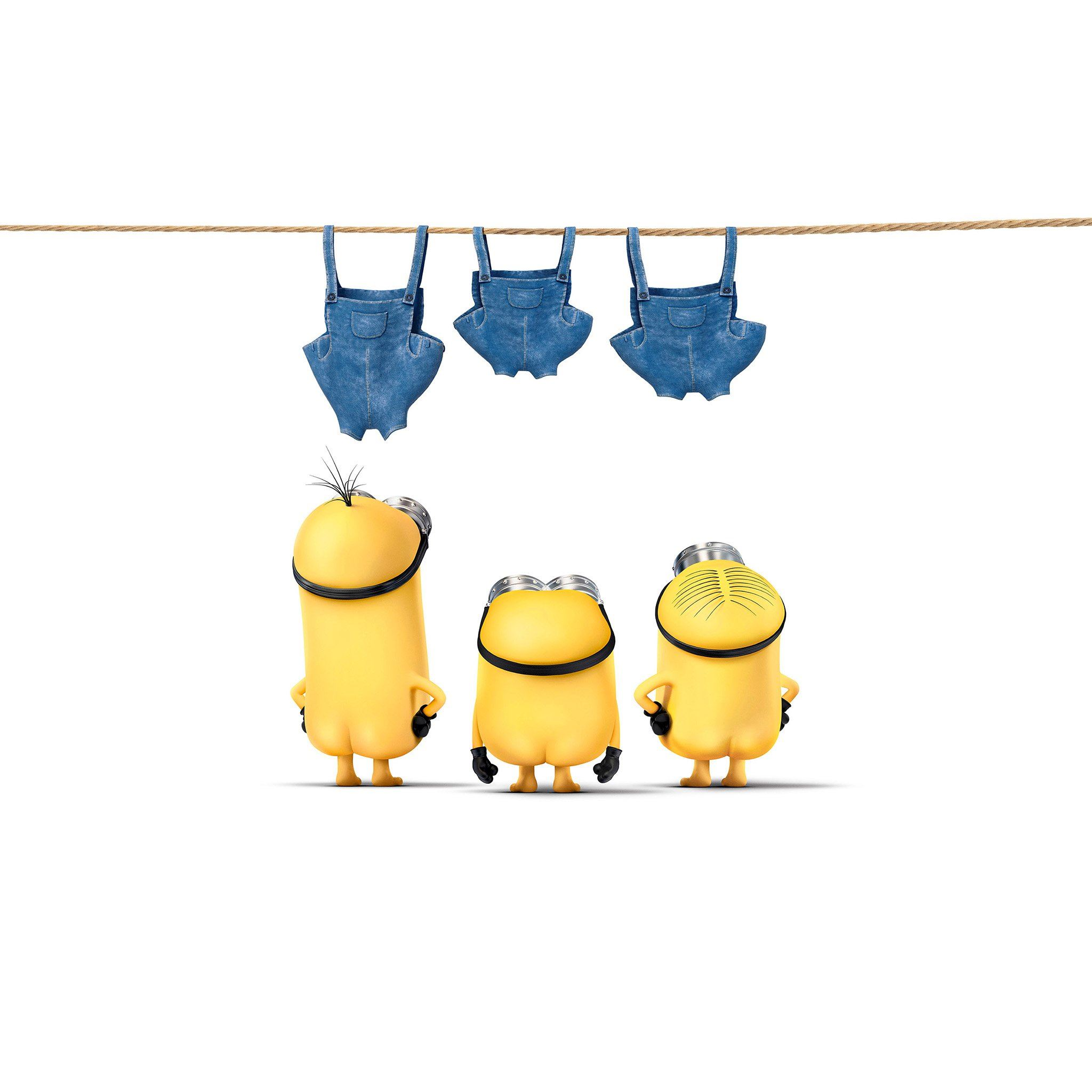 Minions Despicable Nude Me Cute Yellow Art Illustration iPad Air wallpaper
