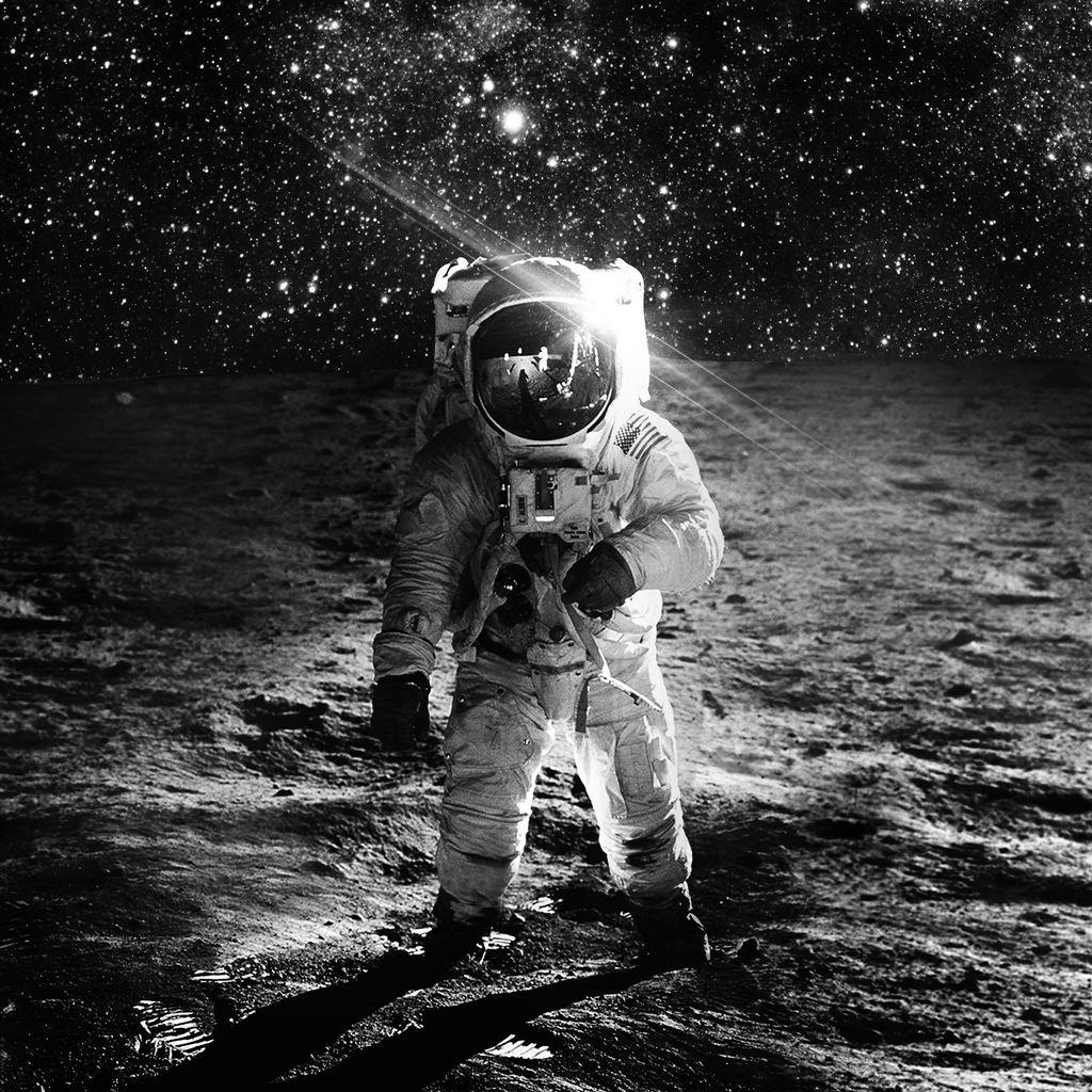 Astronaut Space Art Moon Dark Bw Ipad Air Wallpapers Free Download