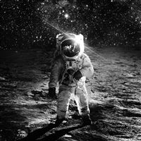 Astronaut Space Art Moon Dark Bw iPad Air wallpaper