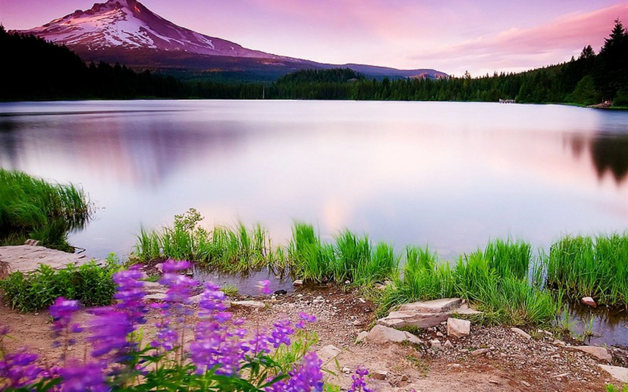 Beautiful Fariy Mountain Lake Scene iPad Air wallpaper