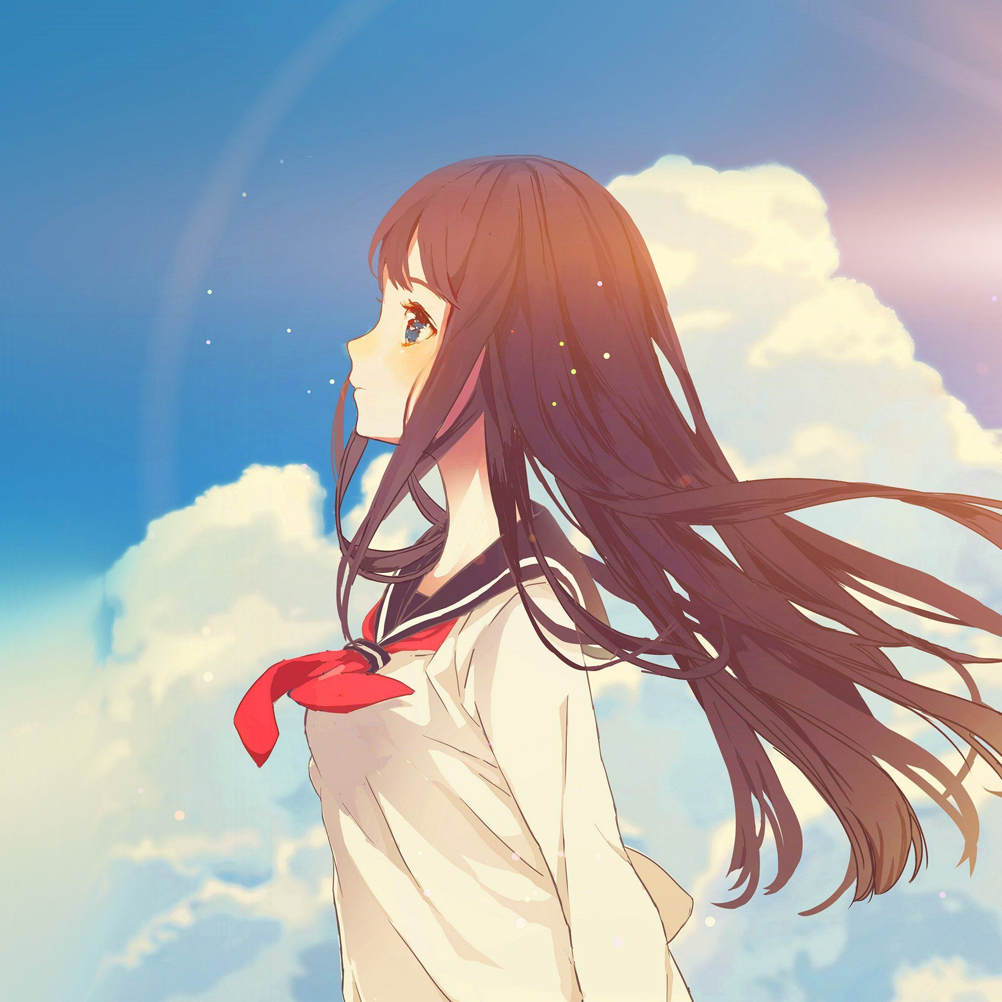 Cute Girl Illustration Anime Sky Flare Ipad Air Wallpapers Free Download