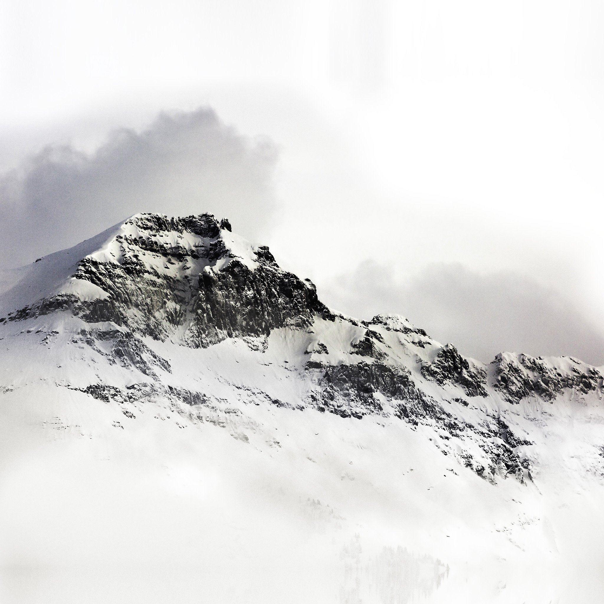 Mountain White Snow Winter Minimal Ipad Air Wallpapers Free Download
