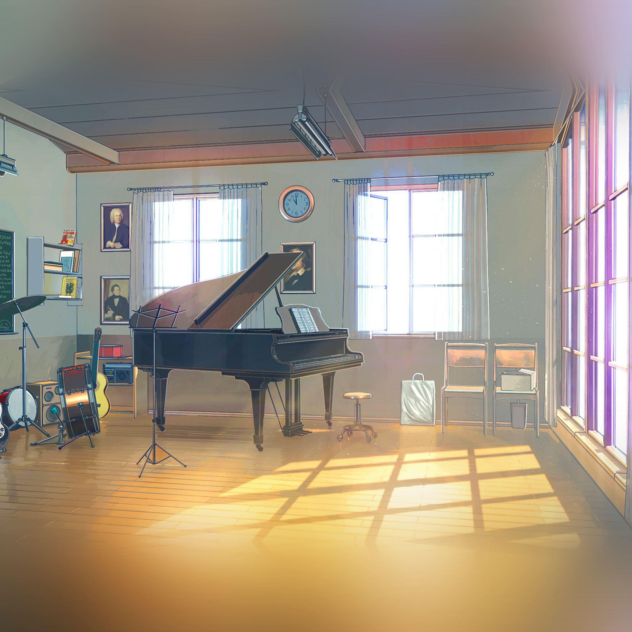 Arseniy Chebynkin Music Room Piano Illustration Art iPad Air wallpaper