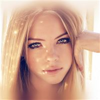 Girl Face Blonde Beauty Red iPad wallpaper