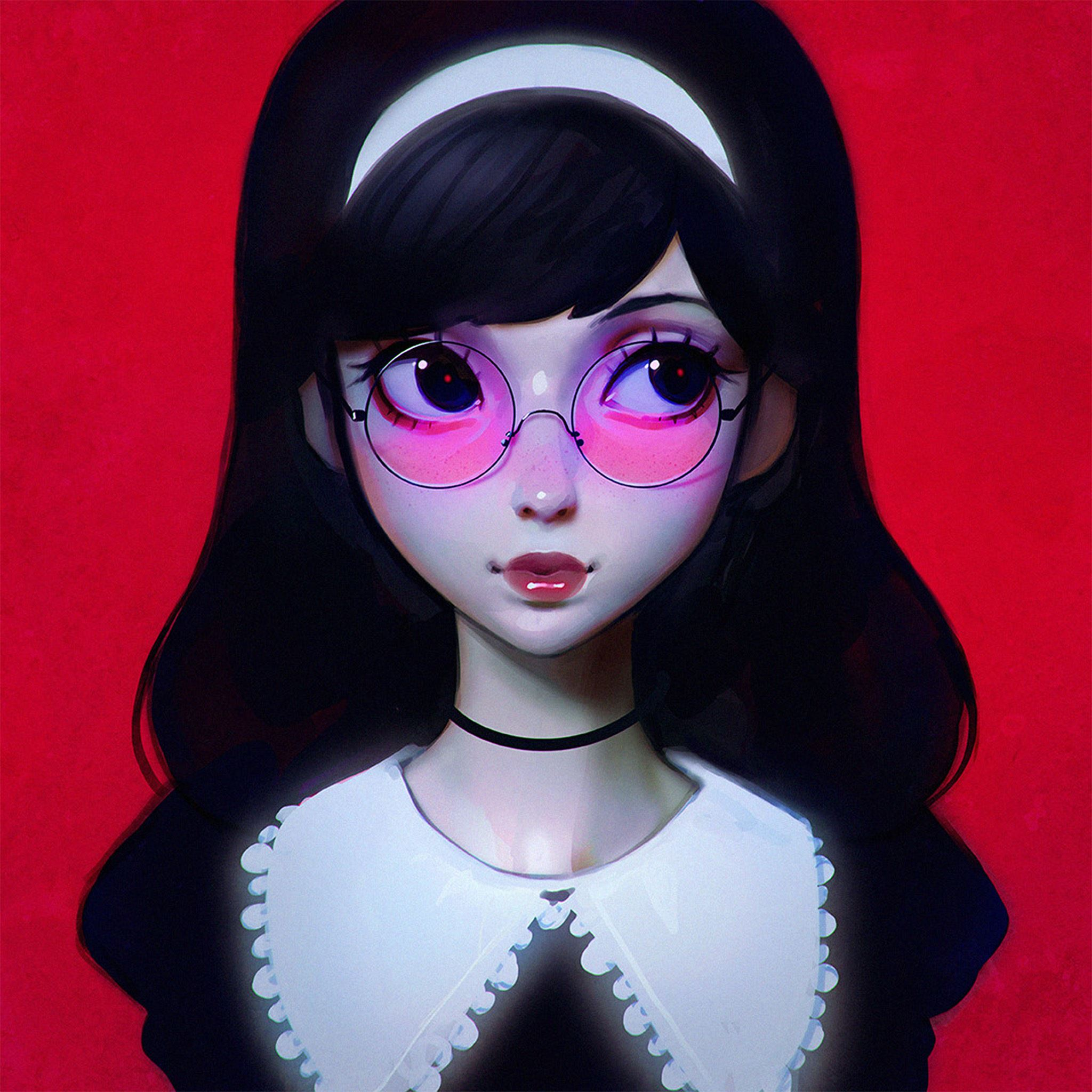Llya Kuvshinov Red Girl Illustration Art iPad Air wallpaper