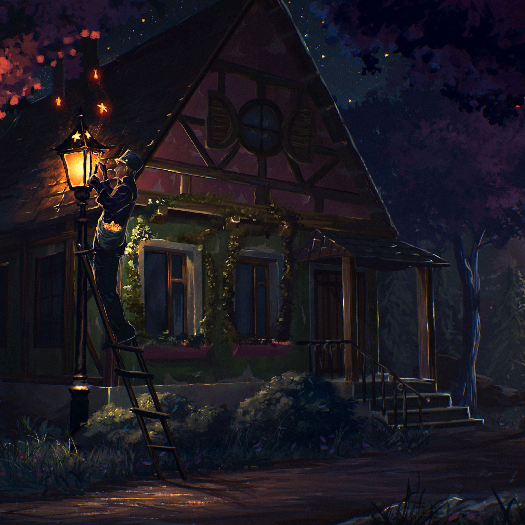House Fairy Tale Art Light Night iPad Air wallpaper