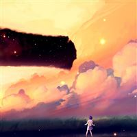 Akio Bako Anime Sunset Girl Clouds iPad wallpaper