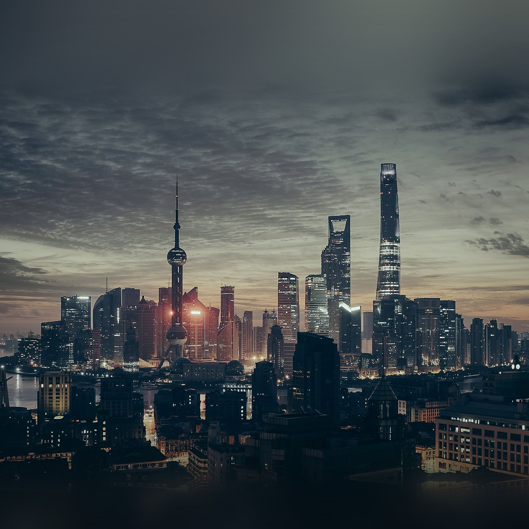 City Shanghai Night Building Skyline iPad Air wallpaper