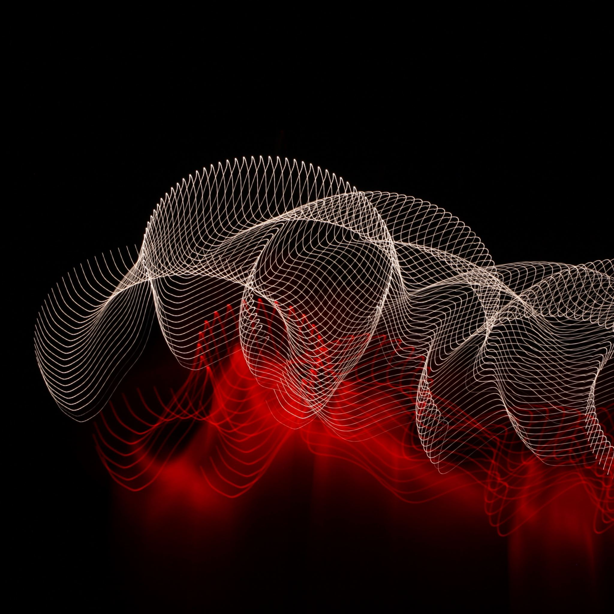 Abstract Lines Spots Dark Background IPad Air Wallpapers