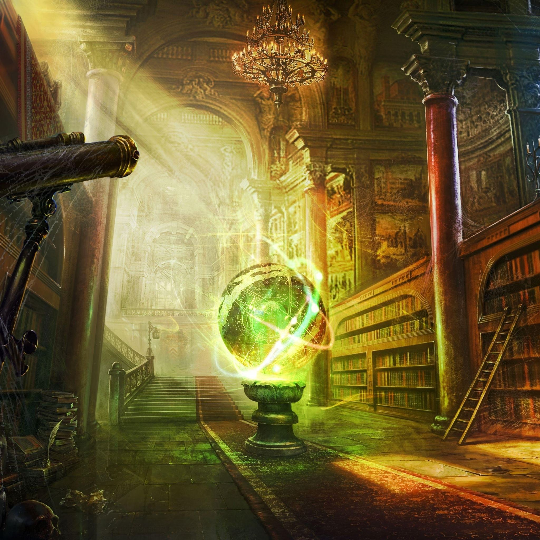 Magic ball library columns castle iPad Air wallpaper
