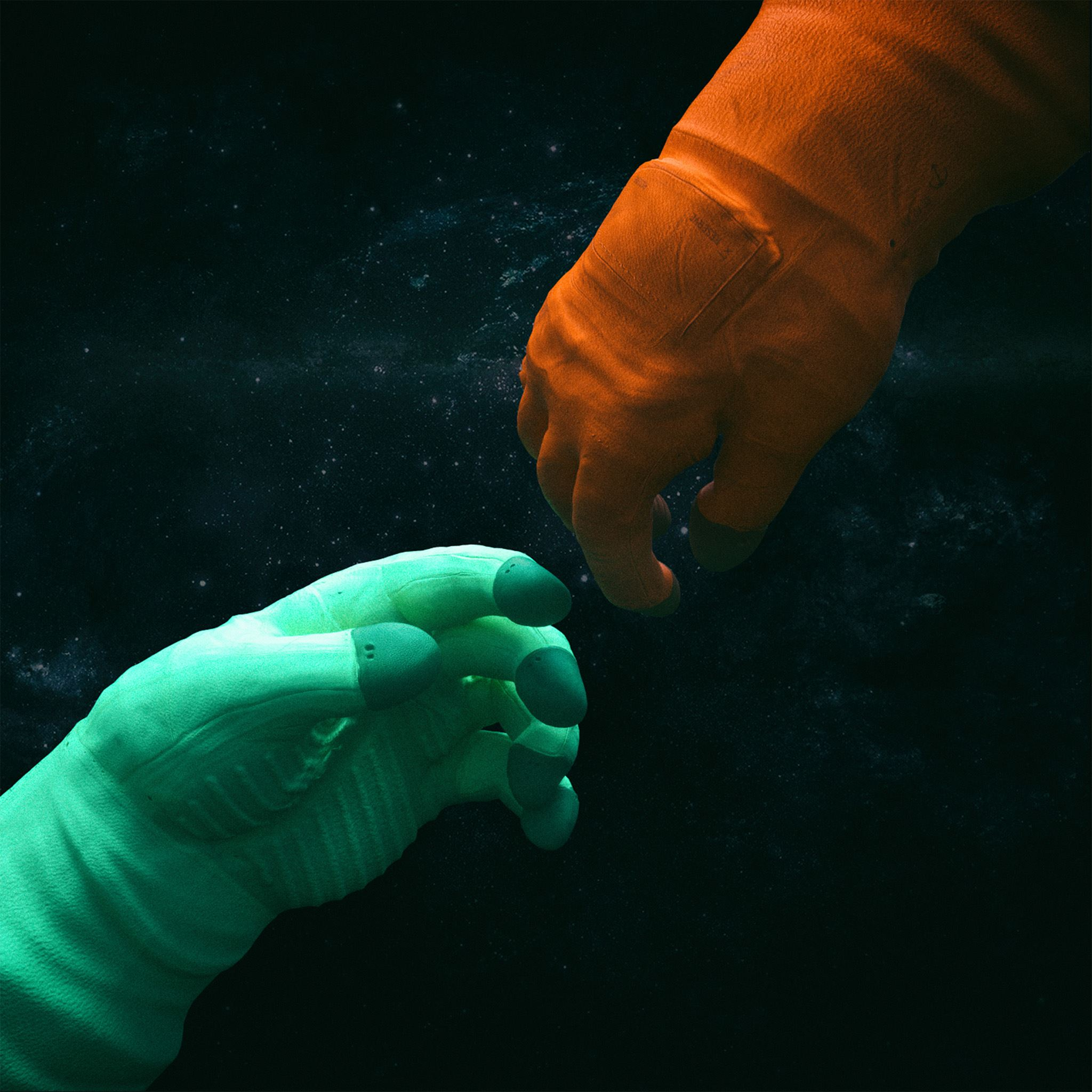 Shake hand space art illustration iPad Air wallpaper
