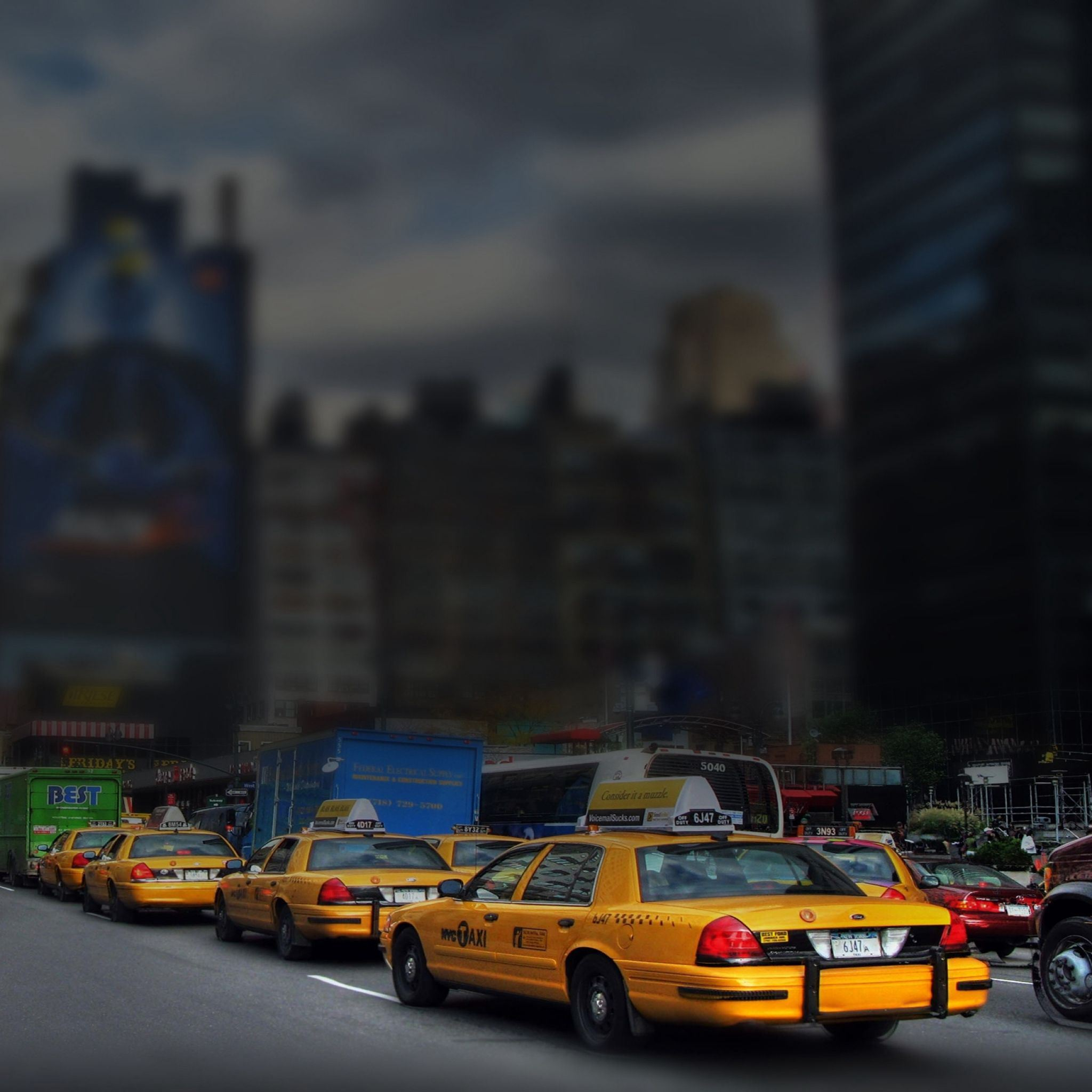 New York manhattan taxis road iPad Air wallpaper