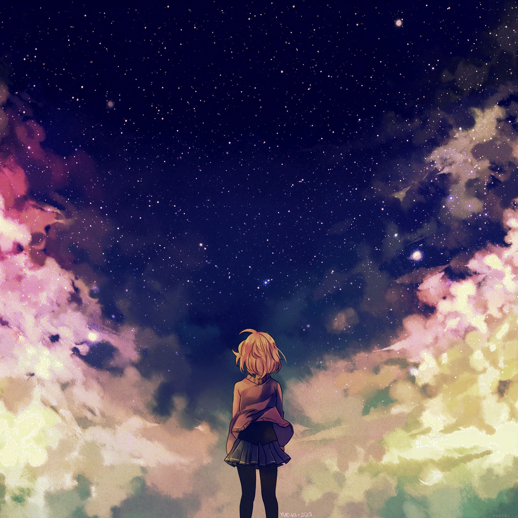 Starry space illust anime girl iPad Air wallpaper