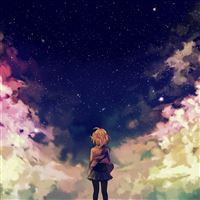 Starry space illust anime girl iPad wallpaper