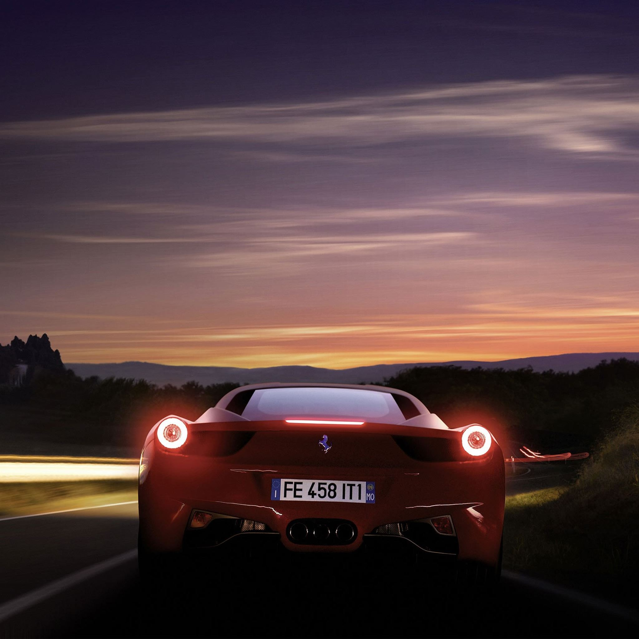 Running Ferrari 458 iPad Air wallpaper