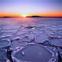 Winter Lake Sunset iPad Air wallpaper