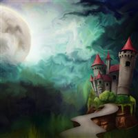 Castle and Moon iPad Air wallpaper