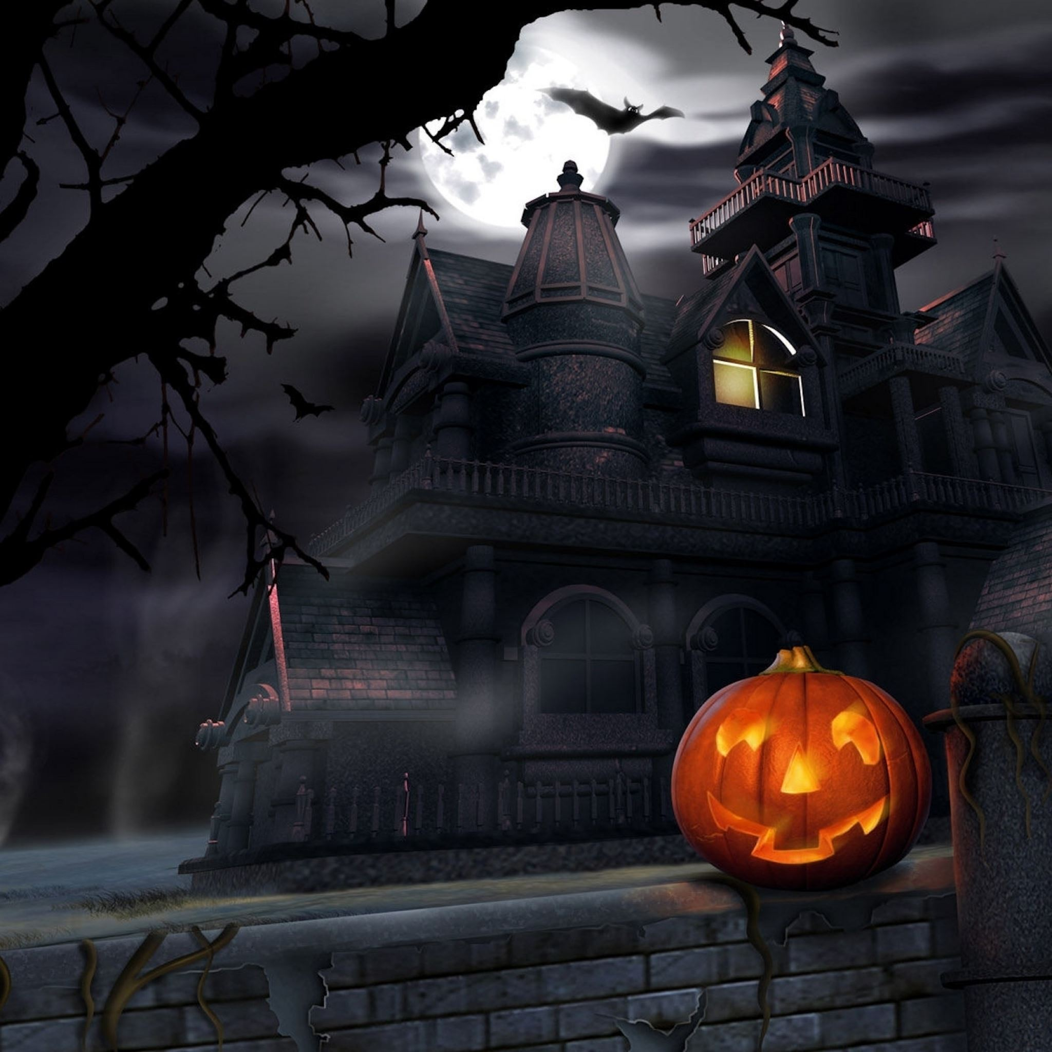 haunted house halloween party trick or treat iPad Air wallpaper
