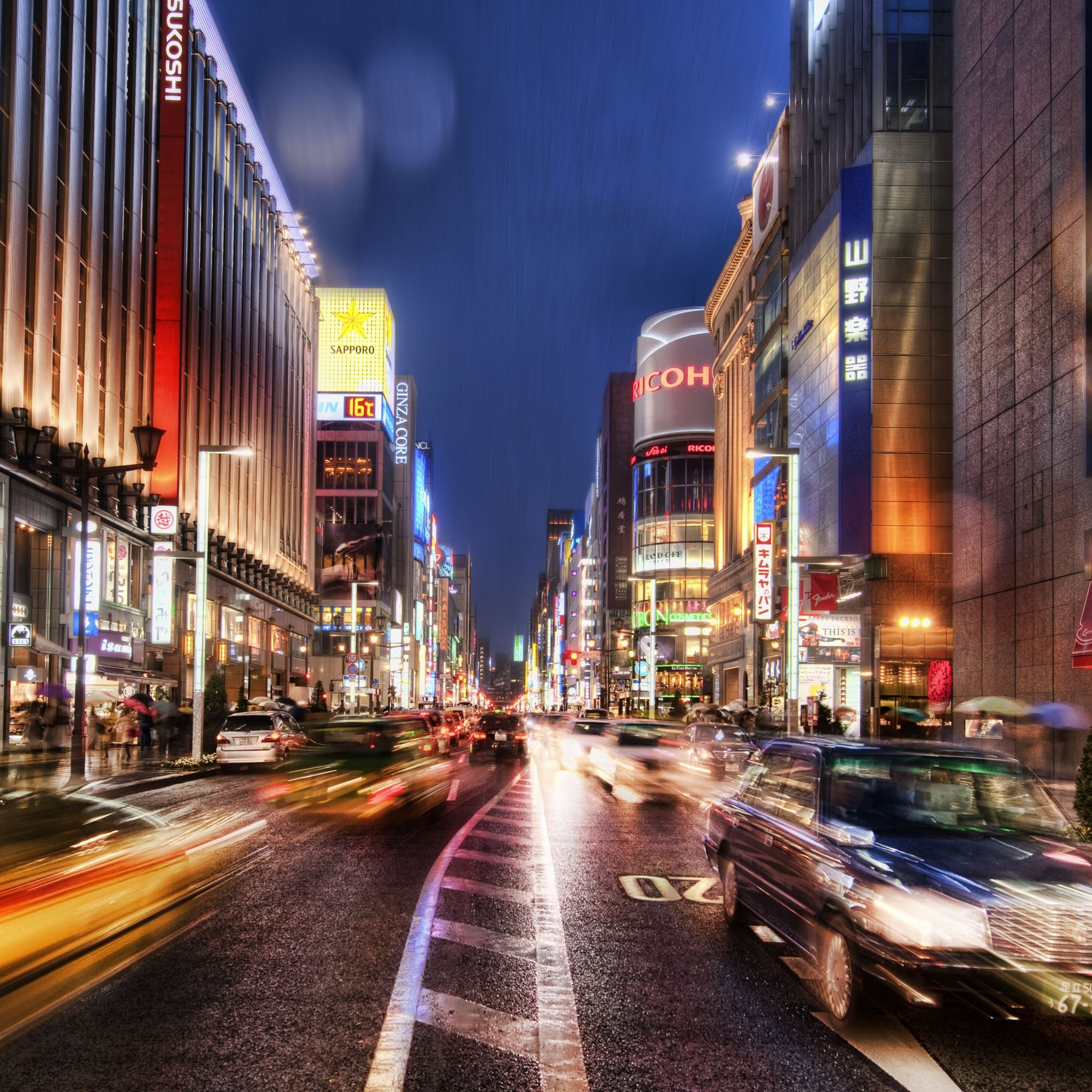 Tokyo Street At Night Hdr iPad Air wallpaper