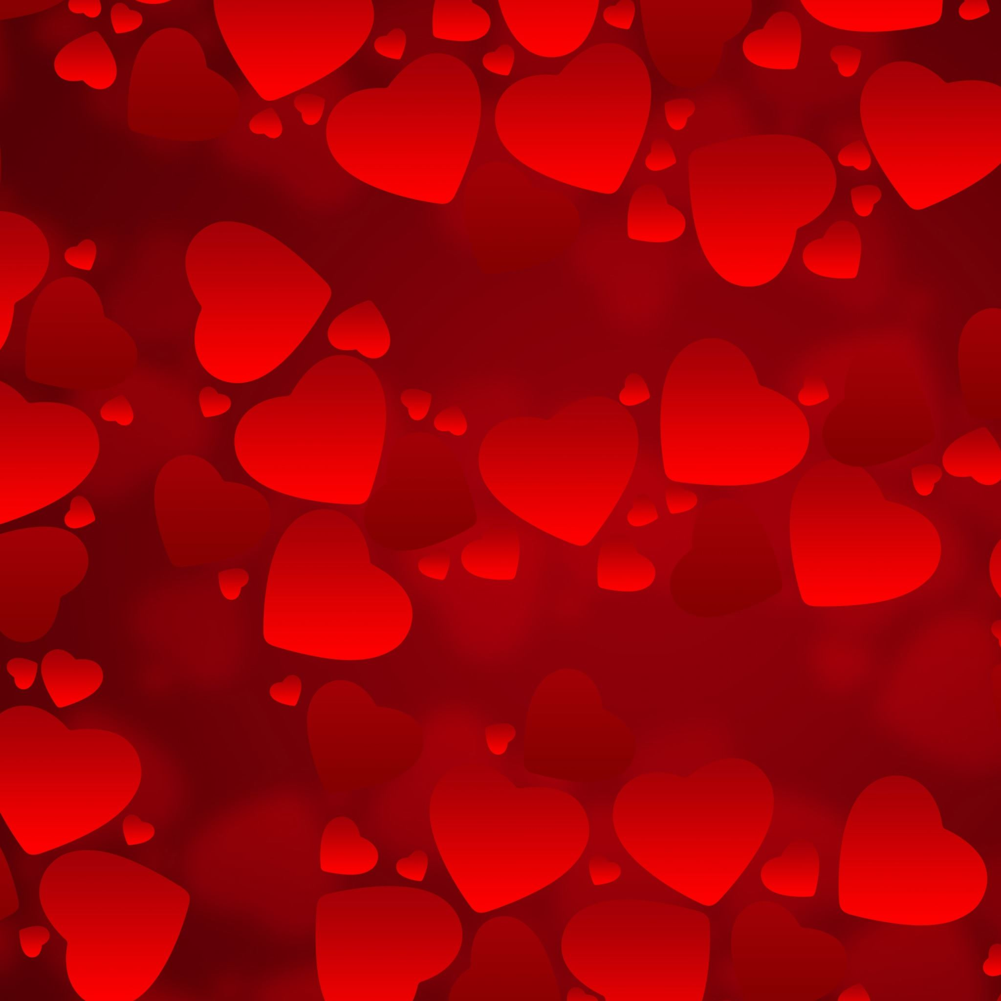 Valentine's  Day Red Hearts iPad Air wallpaper