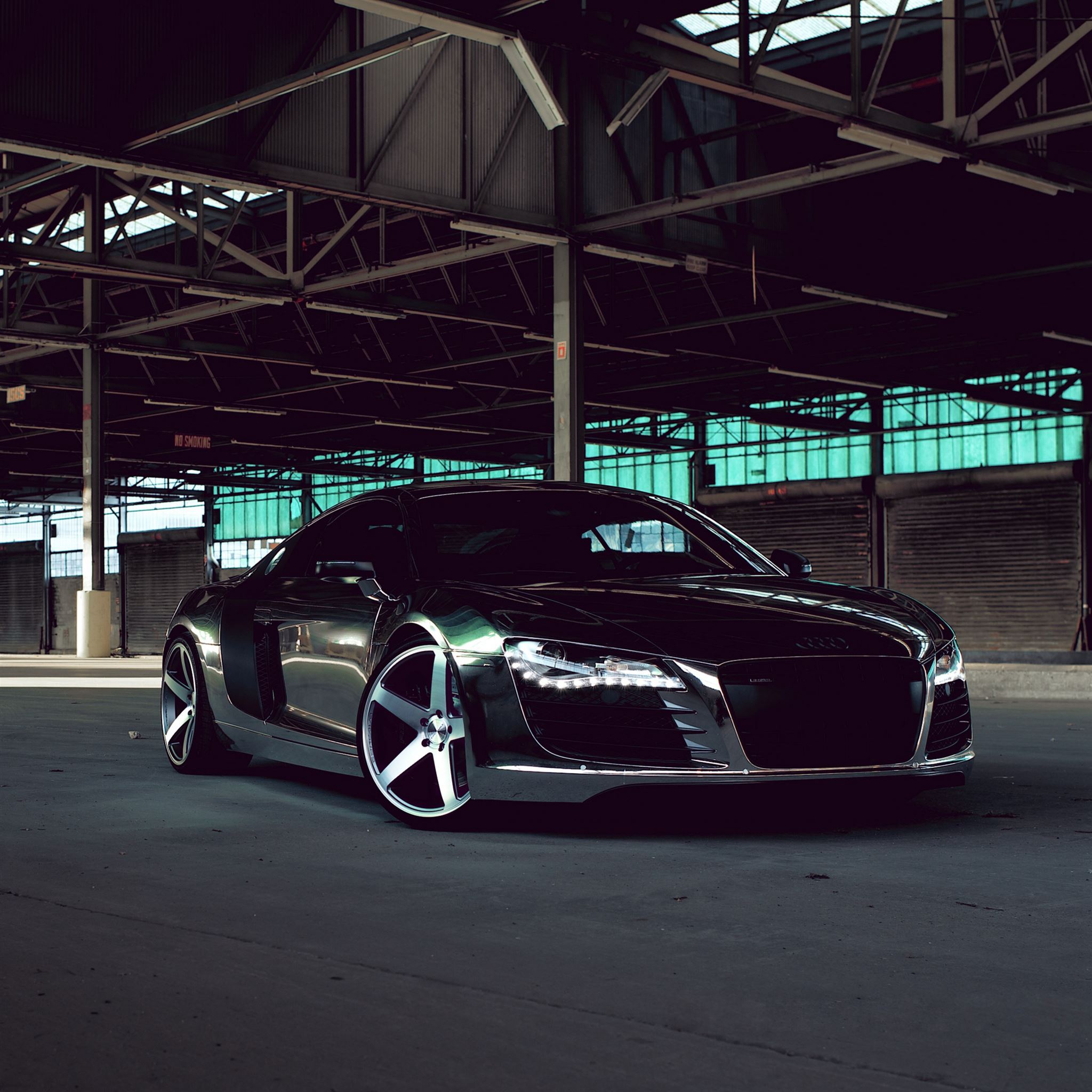 Audi R8 Chrome Cw 5 Matte Black Side View Ipad Pro Wallpapers Free Download