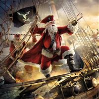 Santa claus pirate ship gifts iPad Pro wallpaper