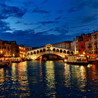 Venice canal gondola boat night lights iPad Pro wallpaper