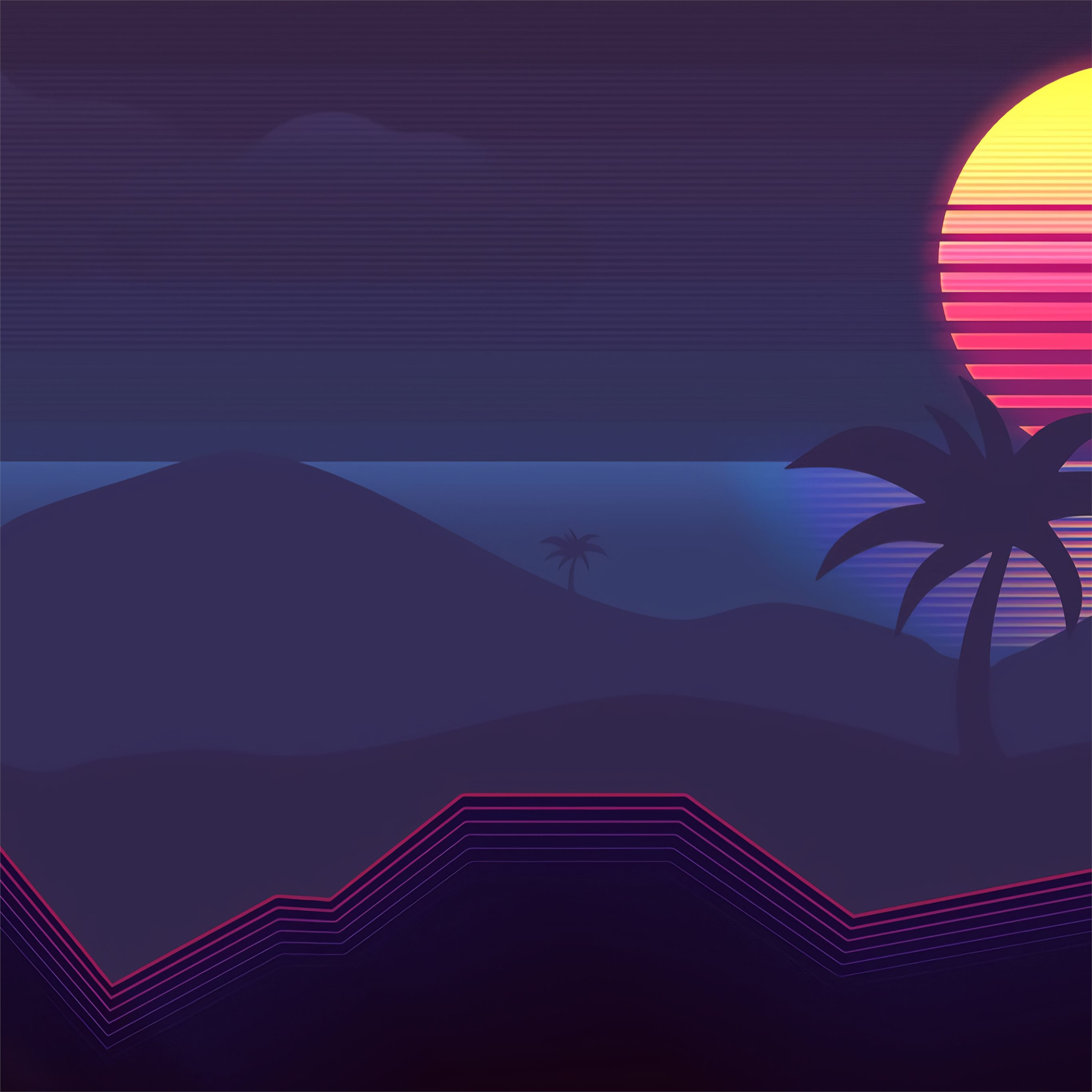 Synthwave Abstract 4k IPad Pro Wallpapers Free Download