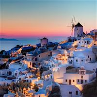 Night in Santorini iPad wallpaper