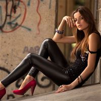 Brunettes leather girl iPad wallpaper