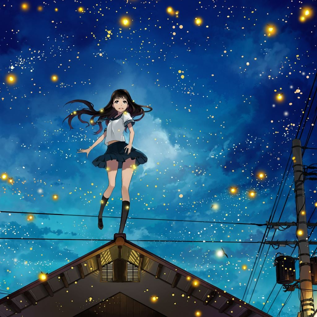 Anime Long Hair Girl In City Night Ipad Wallpapers Free Download