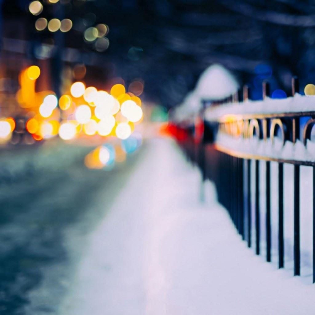Fence Winter City Night Ipad Wallpaper Download Iphone Wallpapers