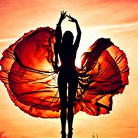 Sunset Dancing Girl iPad wallpaper
