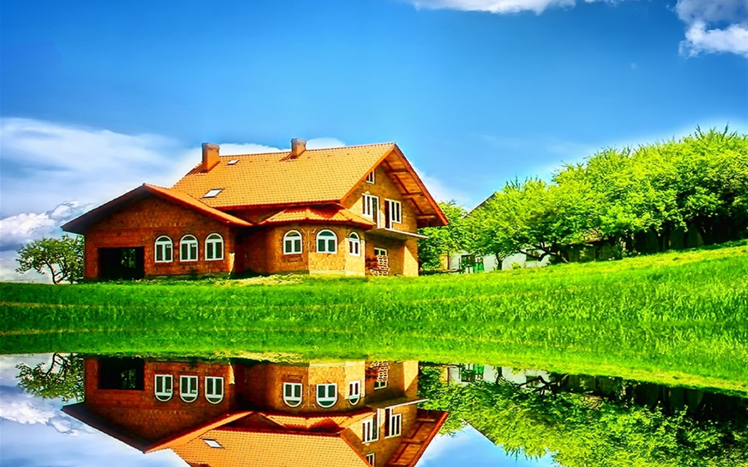 Nature House Reflection Art IPad Wallpaper Download