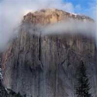 Cliff Fog Landscape iPad wallpaper