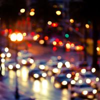 Blurry Rainy Street Scene iPad wallpaper