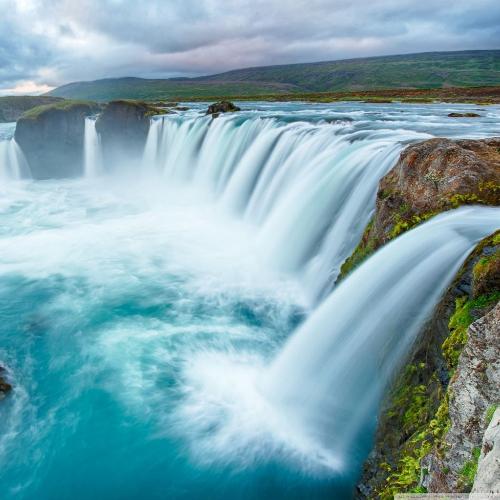 Nature Big Waterfall Clouds Landscape Ipad Wallpapers Free