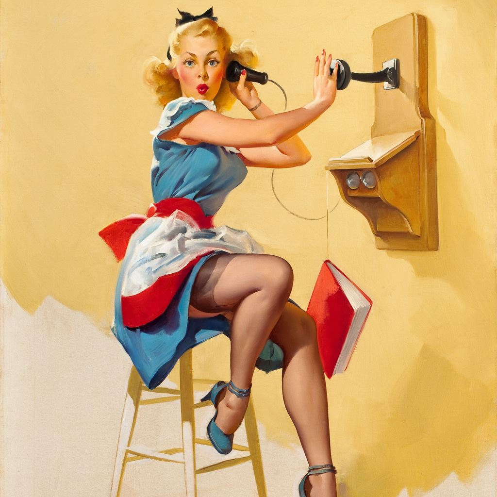 Telephone Pinup Girl Painting Art Ipad Wallpapers Free Download