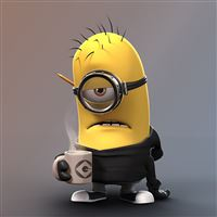 Tired Minion Coffee Lover iPad wallpaper