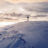 Cross Mountain Snow Winter White Nature Blue iPad wallpaper