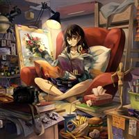 Room Girl Graphic Hand Headphones Easel Shape Books Food Camera Lamp Chair Decor iPad wallpaper