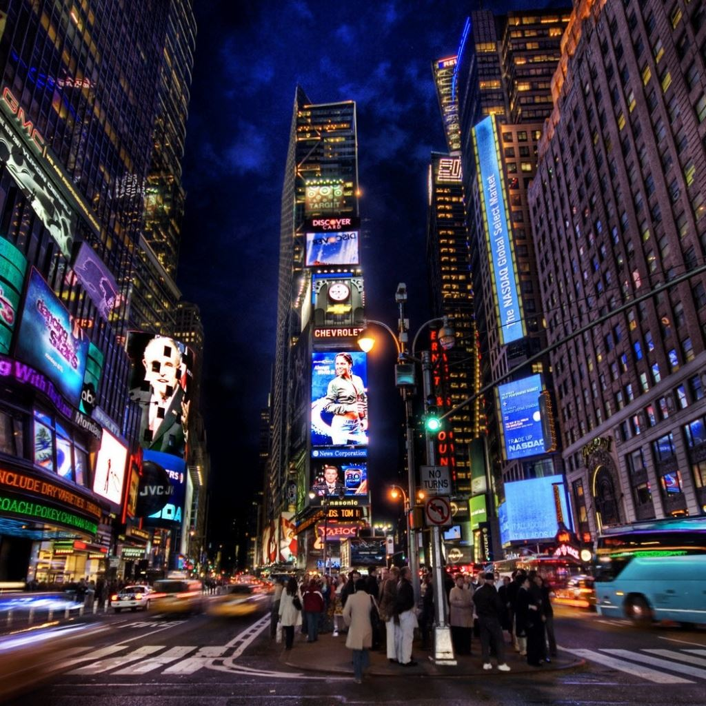 New York Times Square Street Night Home Ipad Wallpapers Free