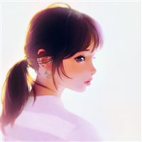 Girl face cute illustration art iPad wallpaper